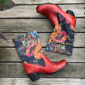 Slouchy boho red leather & fabric boots